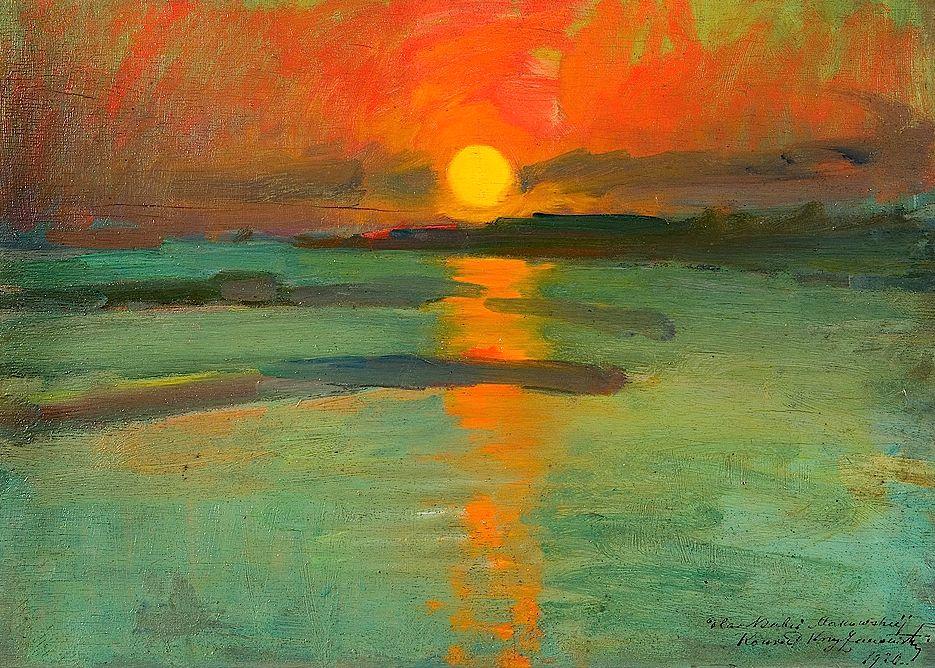 Konrad Krzyżanowski - Coucher de soleil 1920