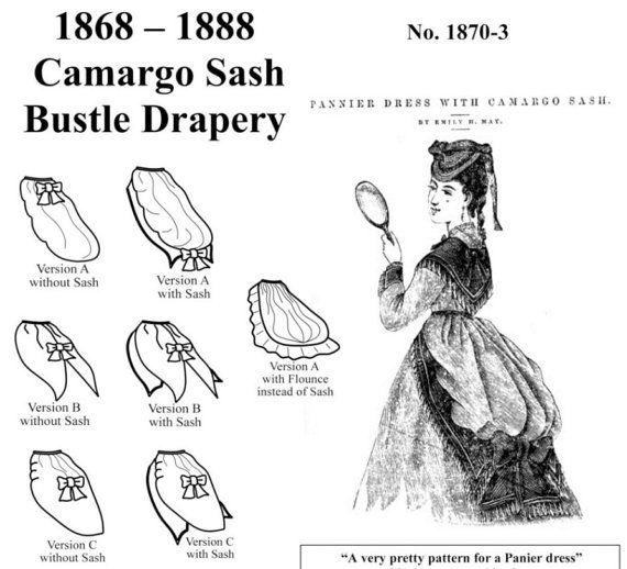 Victorian Bustle Drapery: Overskirt Sewing Pattern for 1868 - 1888 ...