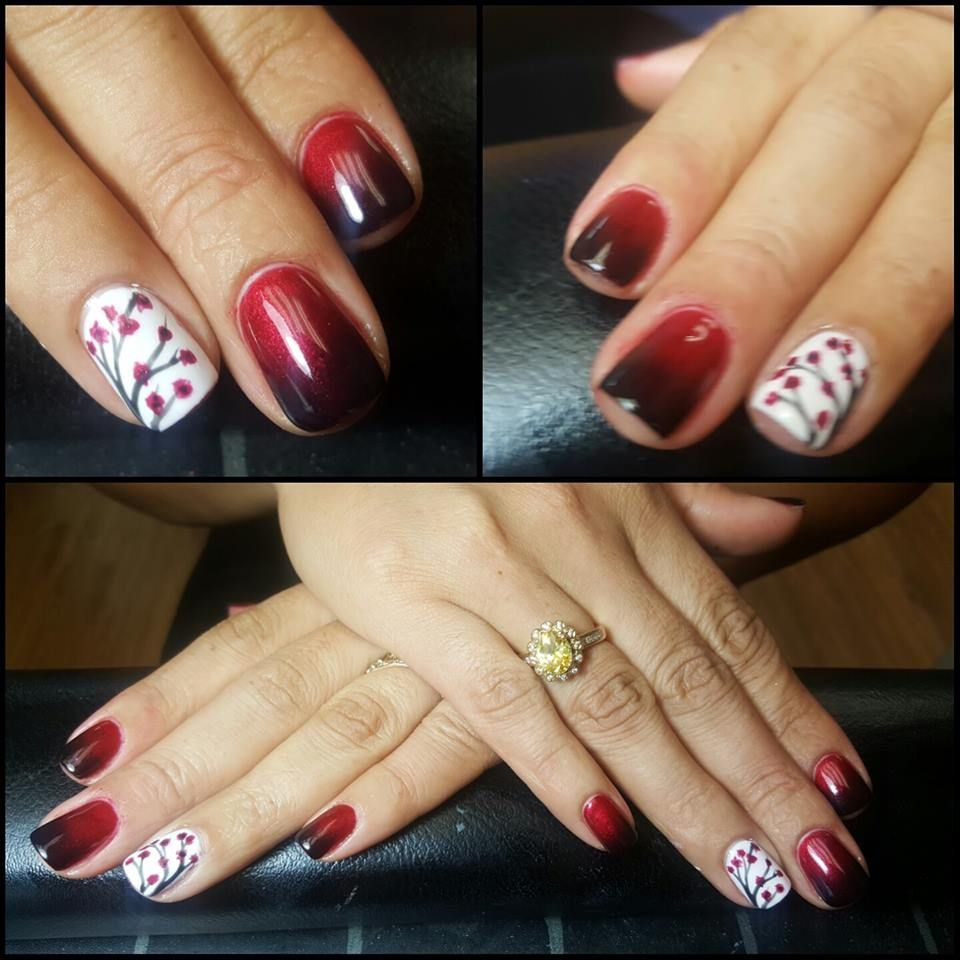 ombre nails with freehand cherry blossom design by Cherish Nuckols.
