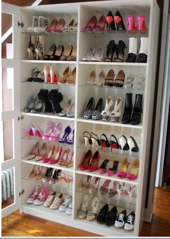 Merveilleux Armoire Repurposed Into Shoe Shelves