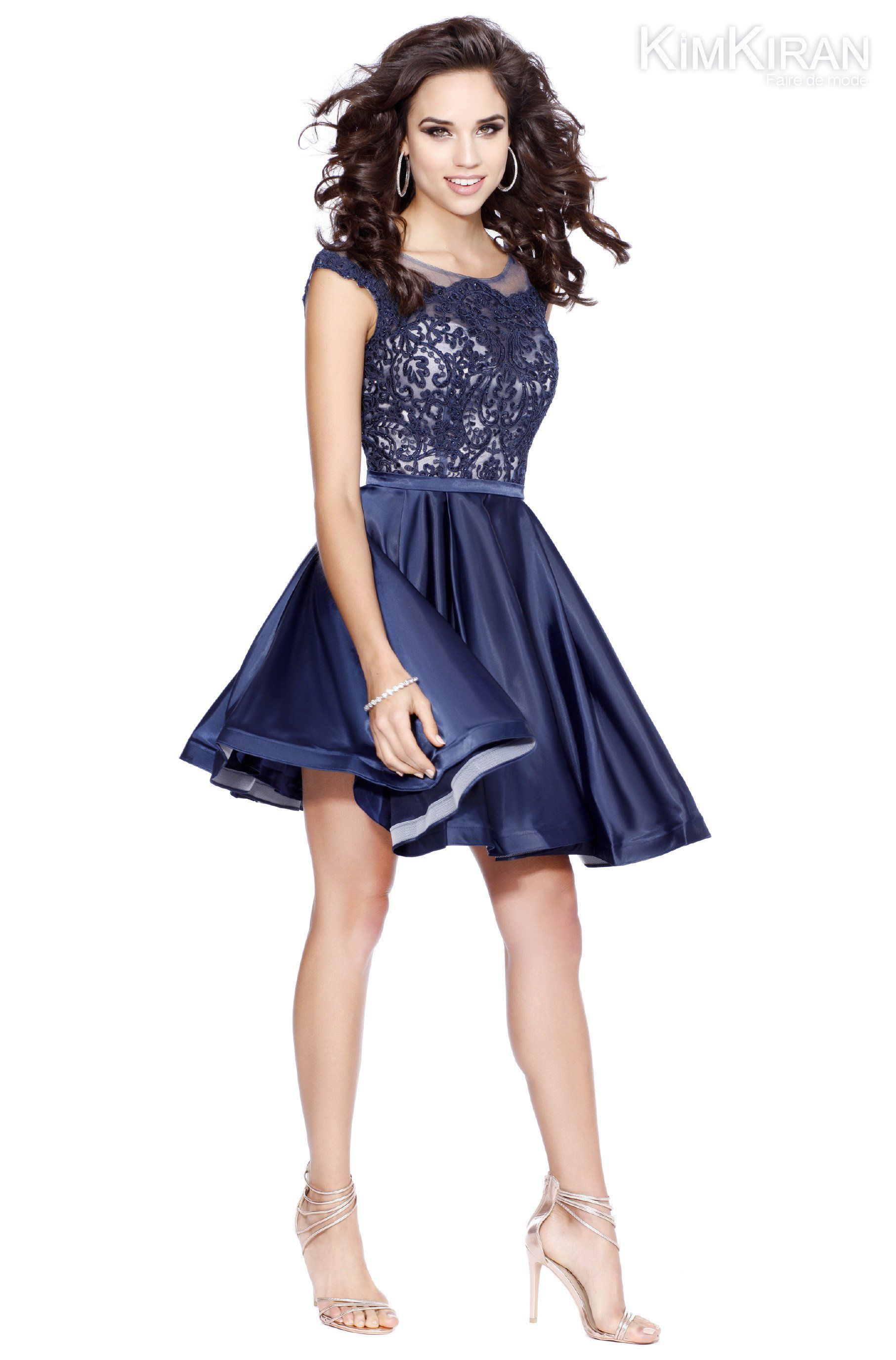 fit to flare lace and silk homecoming dress products