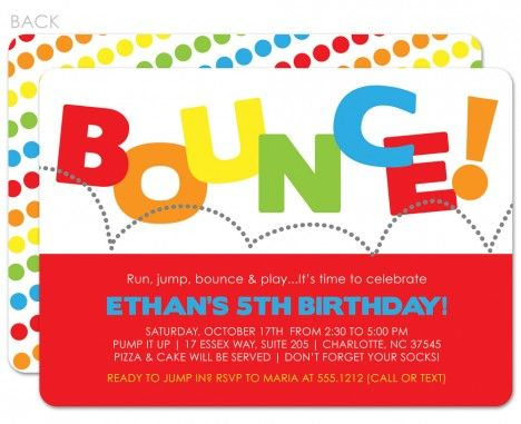 bounce birthday invitation red printed pinterest party
