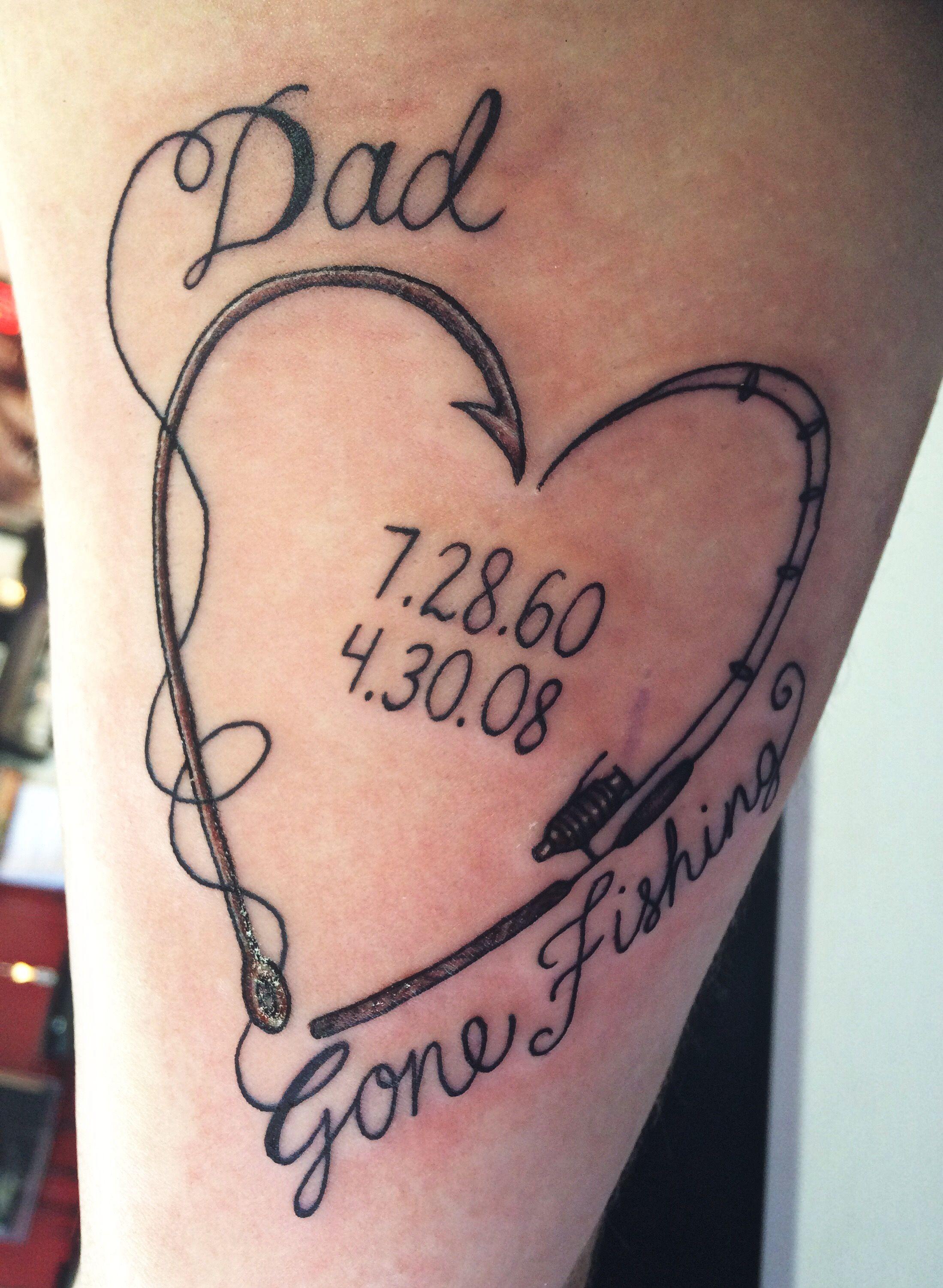 Hook tattoo designs - Dad Fishing Tattoo