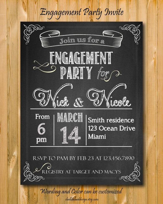 Engagement Party invitation printable custom by chalkboarddesign – Personalized Engagement Party Invitations