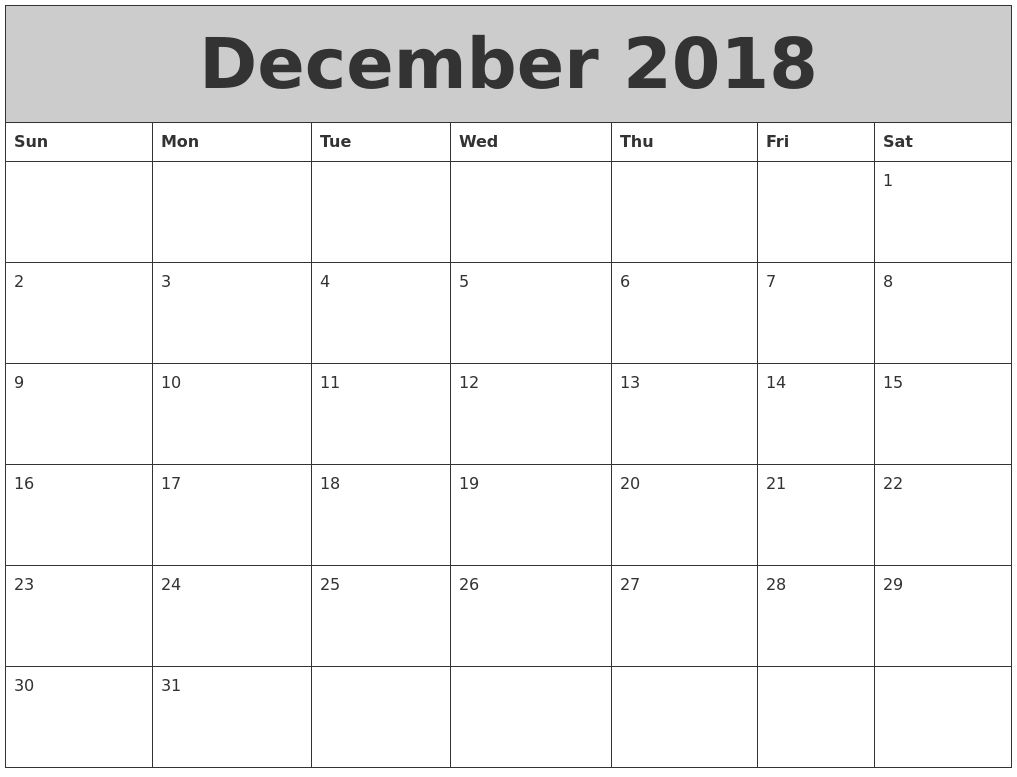 Decembercalendar2018template For School Calendar