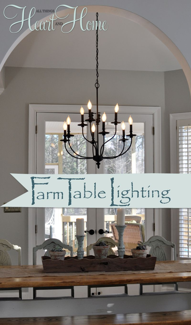Lighting Over The Farmhouse Table The Winner All Things Heart And Home Farmhouse Dining Room Lighting Dining Room Light Fixtures Kitchen Lighting Over Table