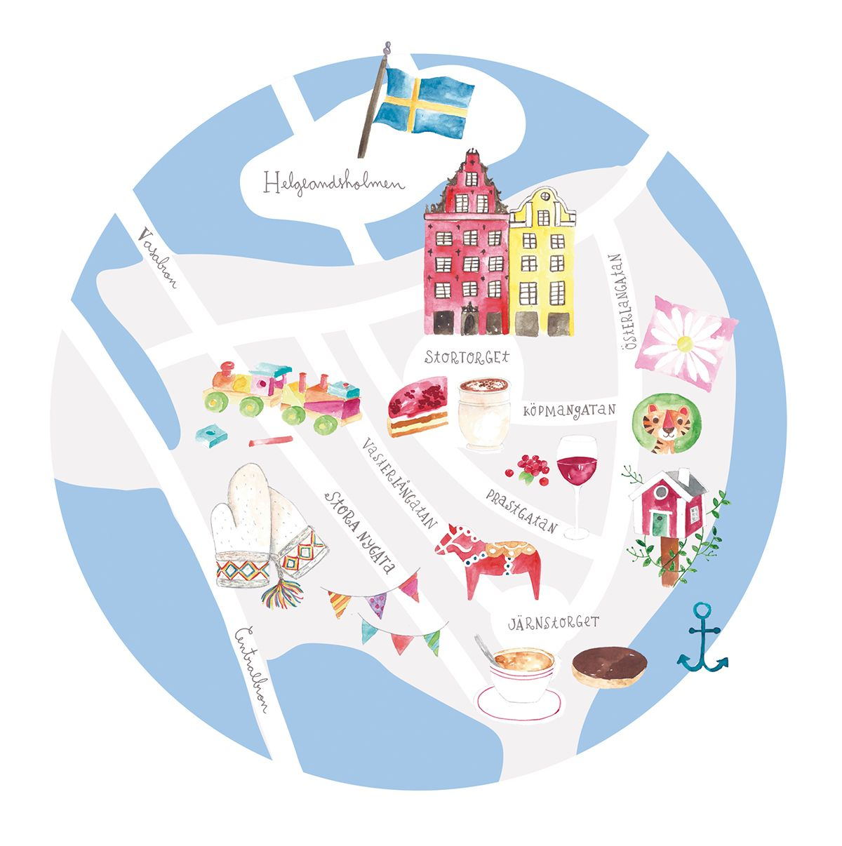 Stockholm Gamla Stan watercolor and digital illustrated map for Mr on
