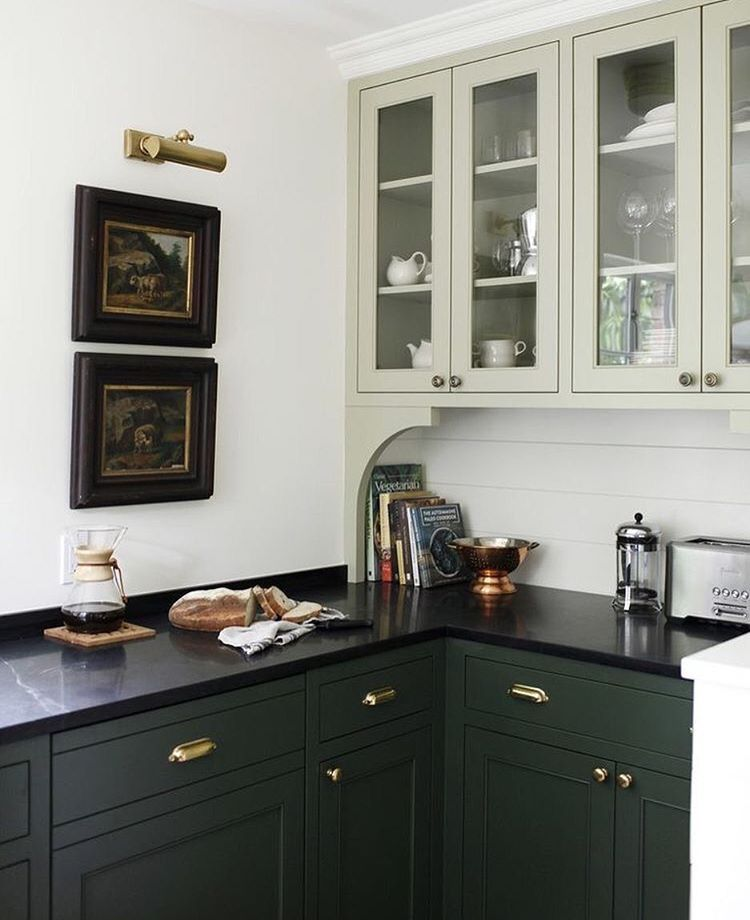 Sophisticated Bar Hunter Green Lower Cabinets Green Kitchen