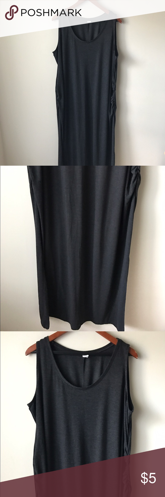 "Old Navy grey maternity maxi dress Charcoal grey colored maternity maxi dress - side ruching - not lined - stretchy - chest across measures 23"" - total length measures 54"" - size XXL Old Navy Dresses Maxi"