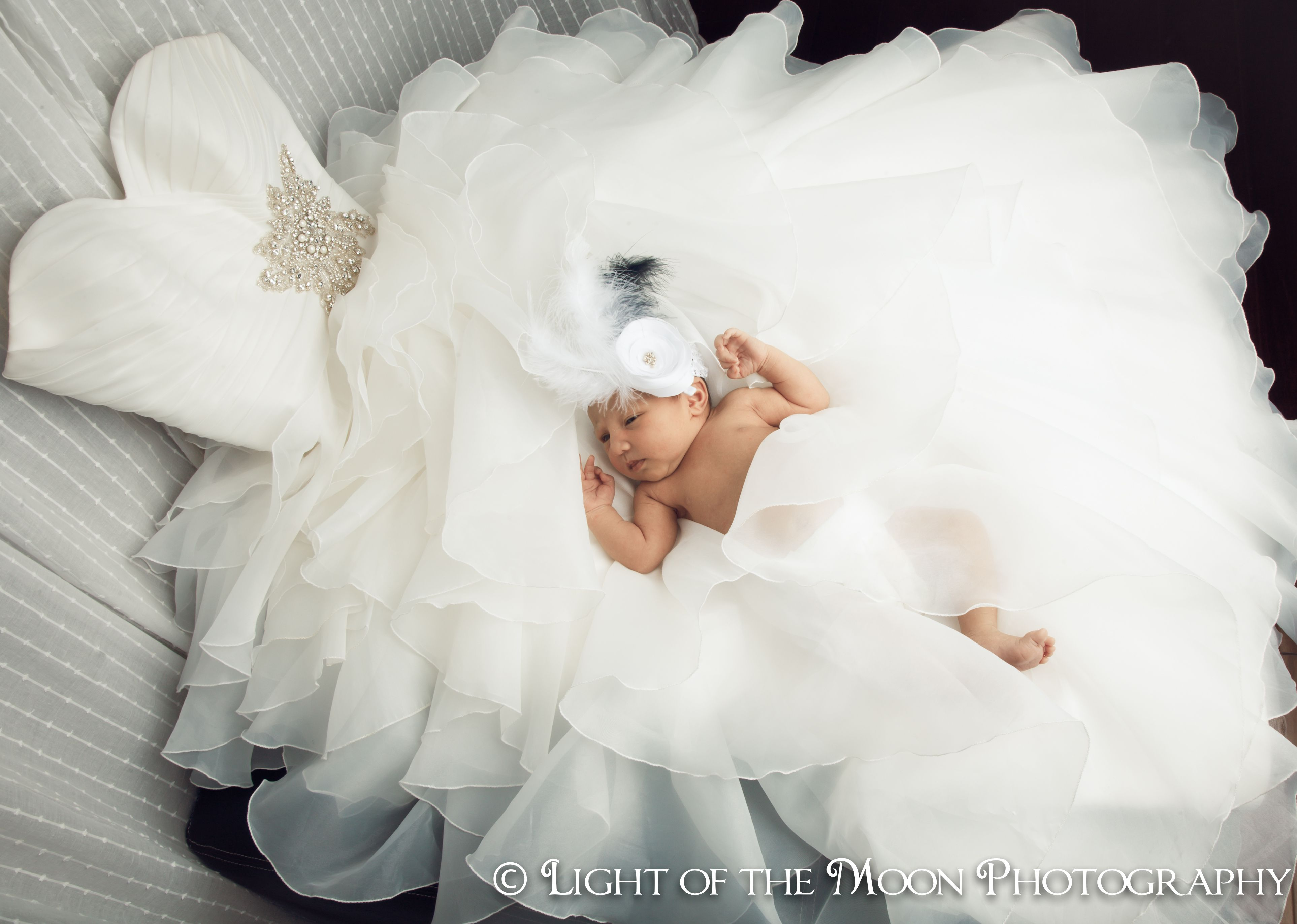 Baby Olivia In Mommy S Wedding Dress How Cool Is This Idea