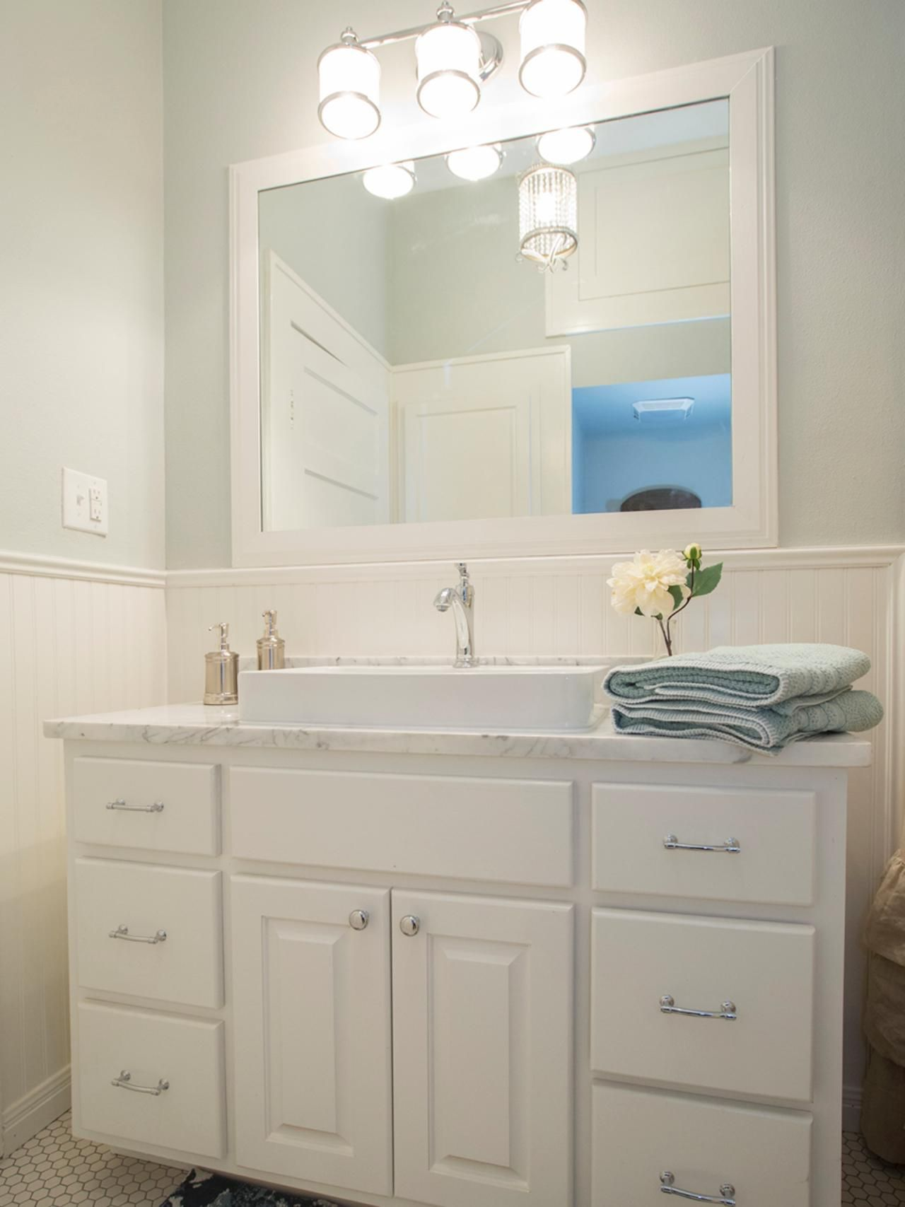 Bathroom Design Ideas With Beadboard fixer upper's best bathroom flips | joanna gaines, hgtv and flipping