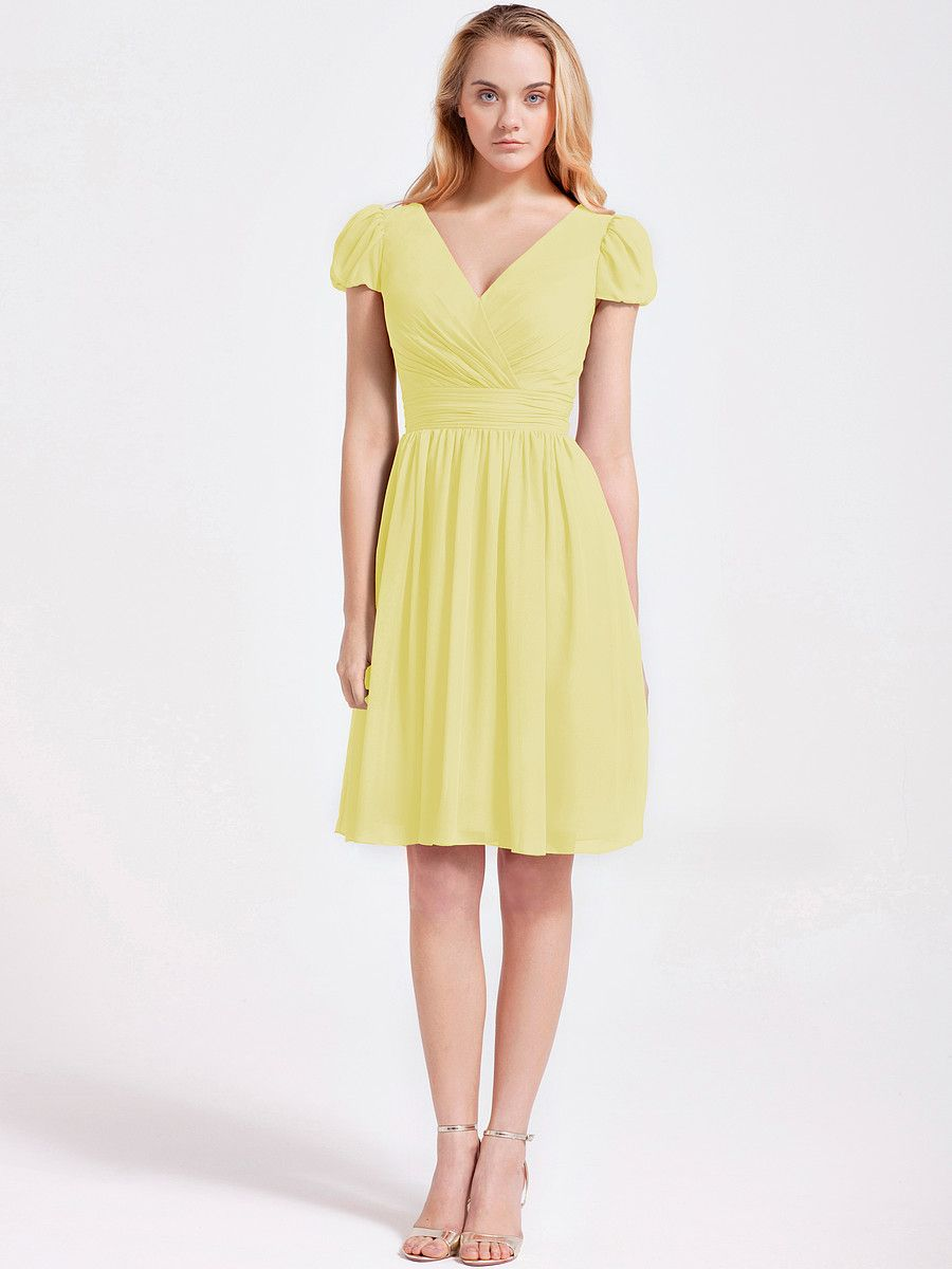Bubble Sleeve Chiffon Dress £101.25 Gumdrop yellow | For Him and Her ...