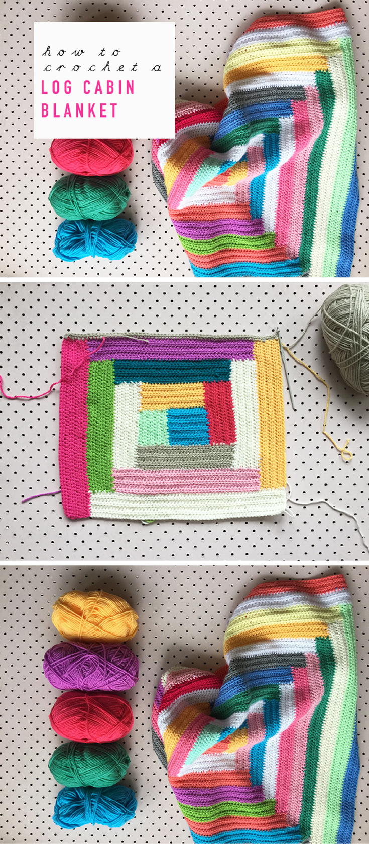 Weekend Project: How To Crochet A Free-Style Log Cabin Blanket ...