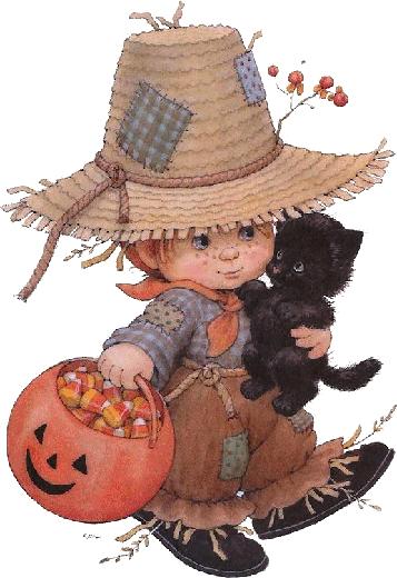 garçon avec une citrouille et son chat 10 Halloween art