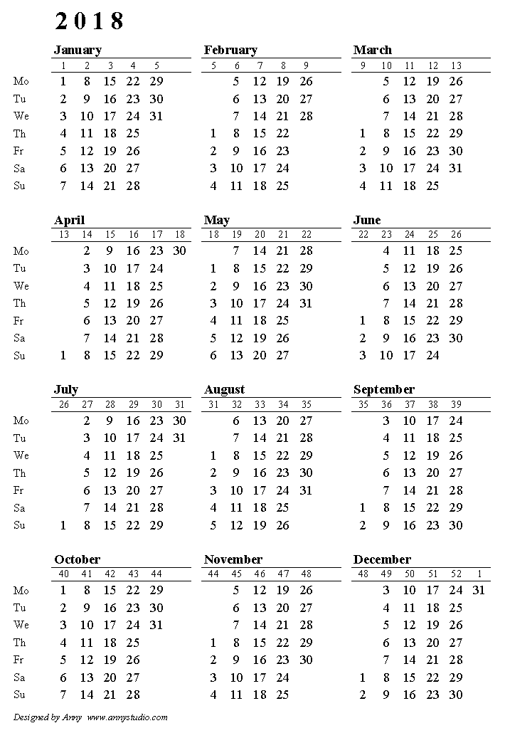 Year Calendar Starting : One page calendar weeks start on monday with week