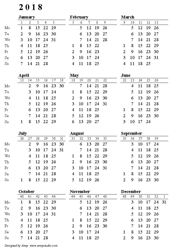 week numbered calendar 2018