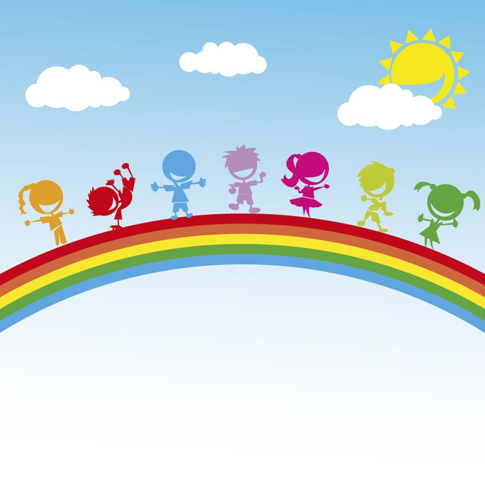 Multi-coloured Children On A Rainbow In Sunshine Wall Mural