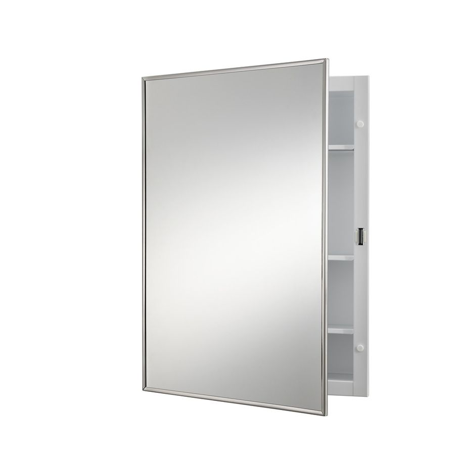 Mirrored Medicine Cabinet Lowes Jensen Styleline 18In X 24In Rectangle Surface Mirrored Steel