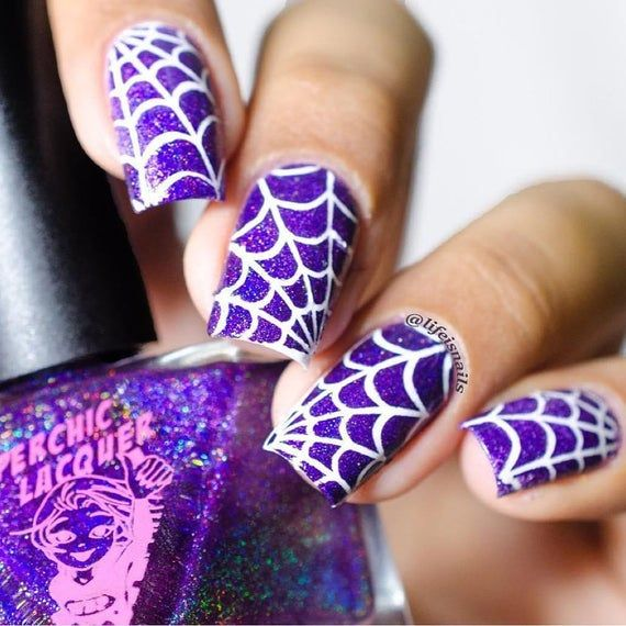 Spider Web Stencils for Nails, Halloween Nail Stickers ...