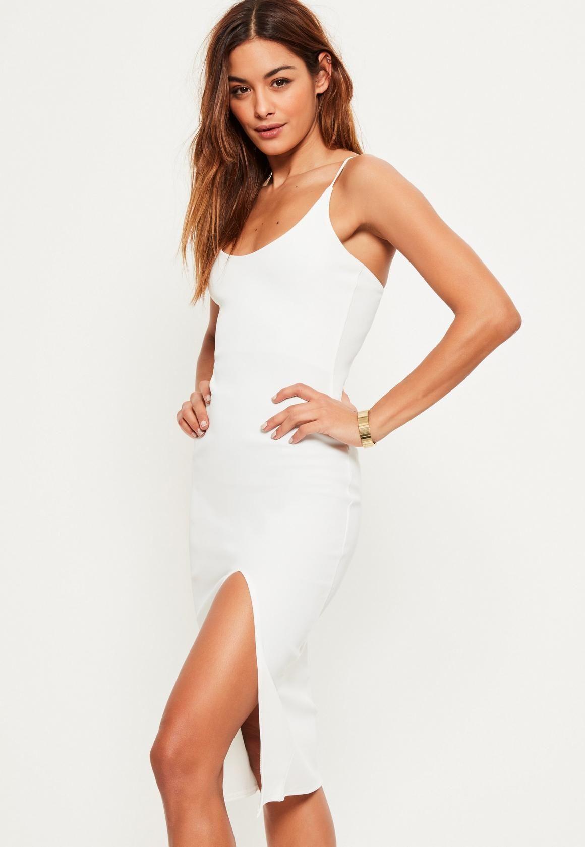 Missguided Biala Sukienka Midi Z Rozcieciem Dresses Short Sleeve Shift Dress Slinky Mini Dress