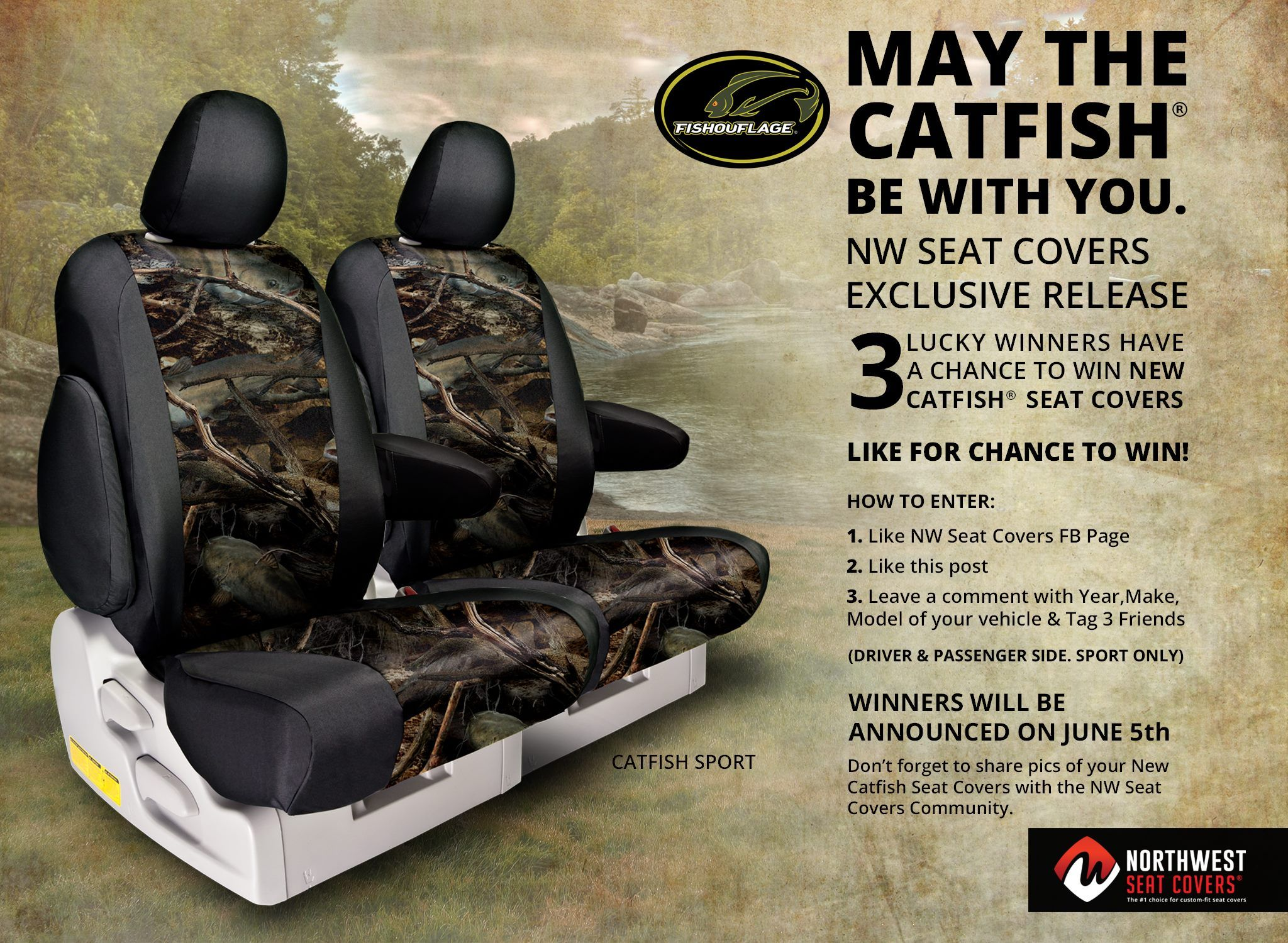 Hey Guys Nw Seat Covers Presents Fishouflage Catfish Seatcovers Giveaway Are You Planning Muddy Girl Seat Covers Seat Covers Camo Seat Covers