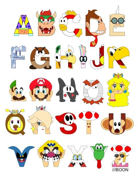 Geek Art L Alphabet Tout Pixar Super Mario Party