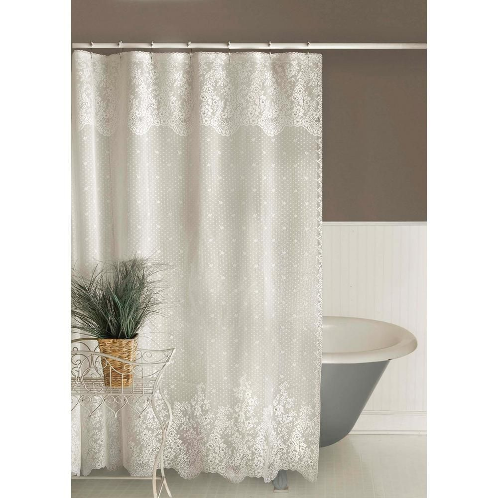 Heritage Lace Floret 72 In W X 72 In L White Lace Shower Curtain