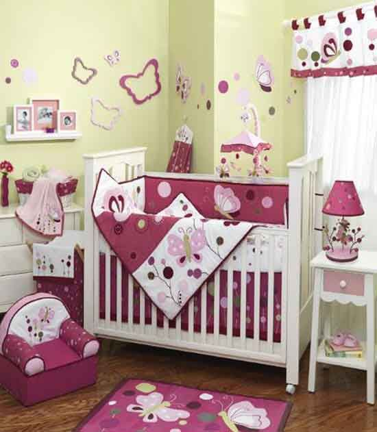 crib sets for girls | Cool Pink Baby Girls Crib Bedding Sets