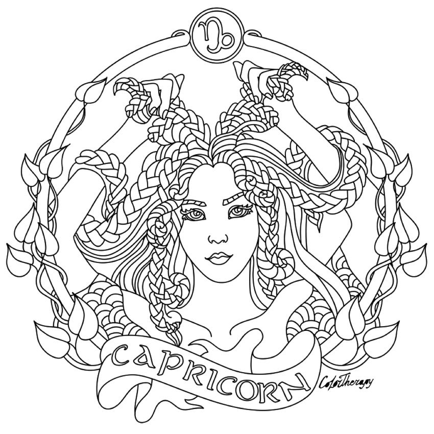 Capricorn zodiac beauty colouring page coloring page for Capricorn coloring pages