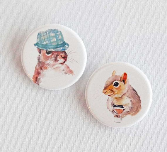 Pinback Buttons  Squirrel Pin Back Buttons by WaterInMyPaint, $4.50