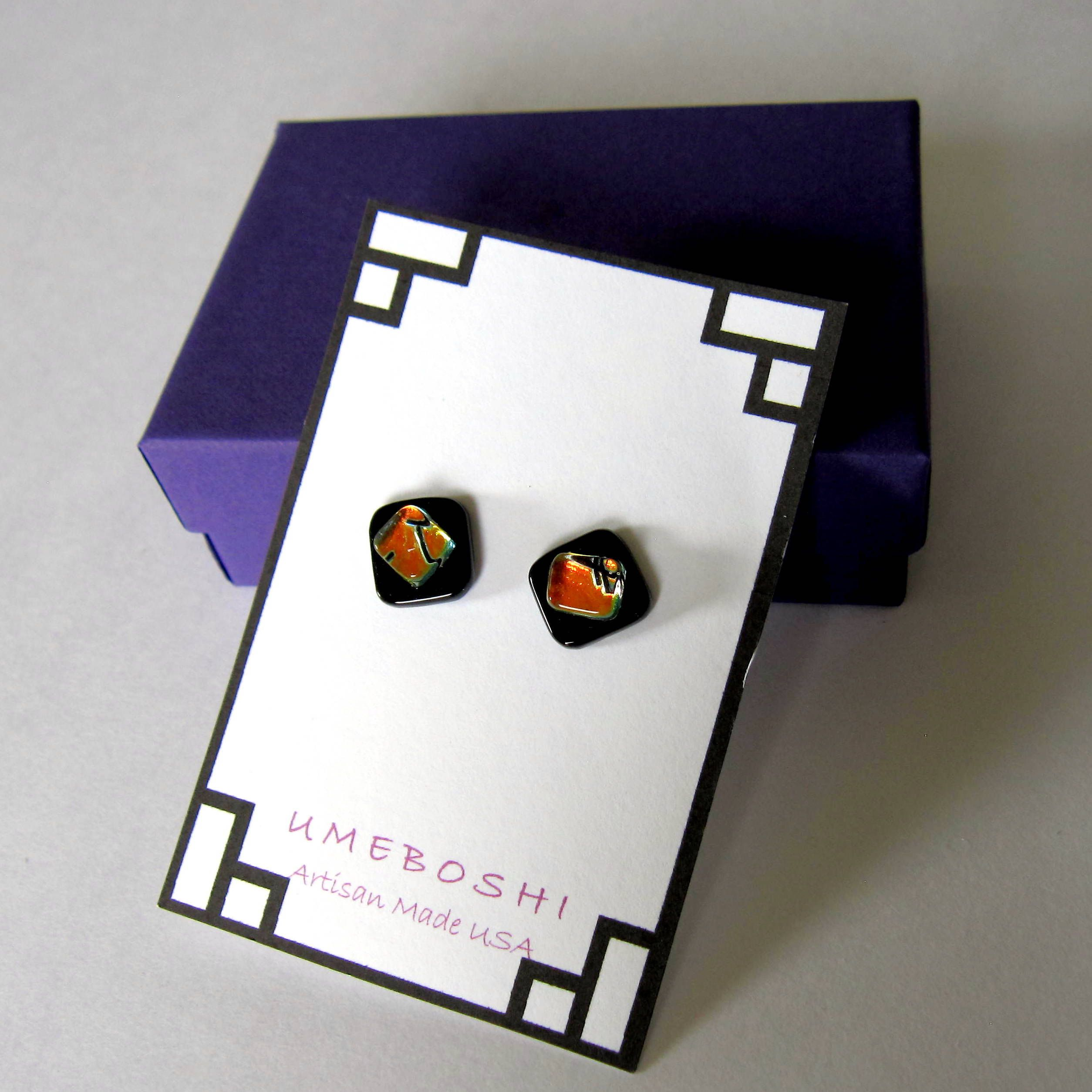 pin silverstuds fusedglass silverearrings dichroicearrings stud glass s etsy