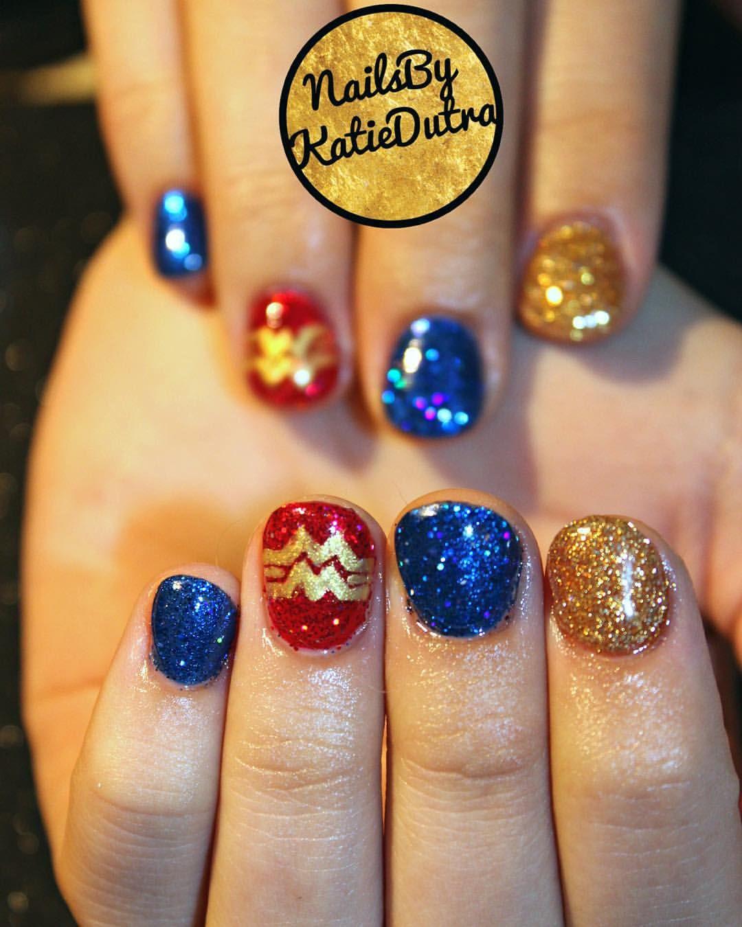 Glitter gel nails Wonder Woman nail art | Nails by Katie ...