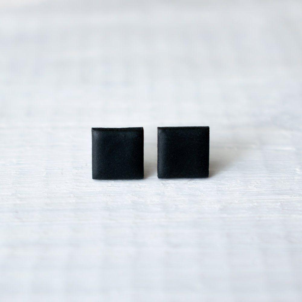 dabba30174c23 Black square earrings, simple minimalist jewelry, small black studs ...