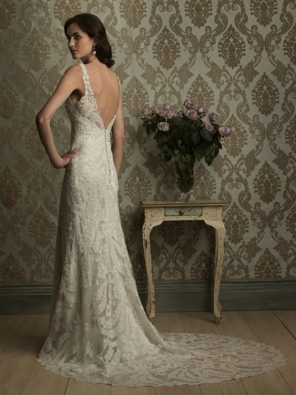 Weddbook ♥ Ivory French lace backless wedding dress with satin back ...