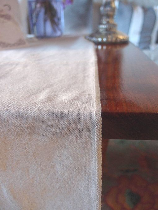 Linen Table Runner With Selvage Edge, 12 X 120 Inches, Natural
