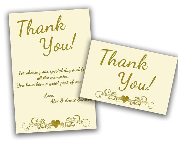 Ivory wedding anniversary thank you cards gold th
