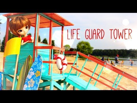 How to Make a Doll Lifeguard Tower - Doll crafts - YouTube