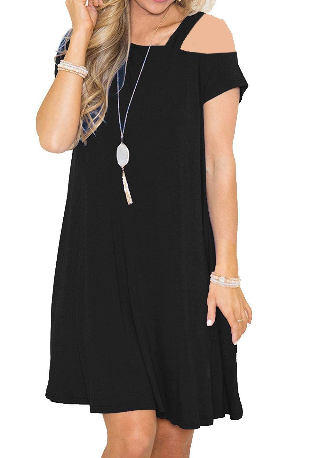 798ee580d7b Anteto Women s Casual Short Sleeve Cold Shoulder Loose Swing T-Shirt Dress  with Pockets Black