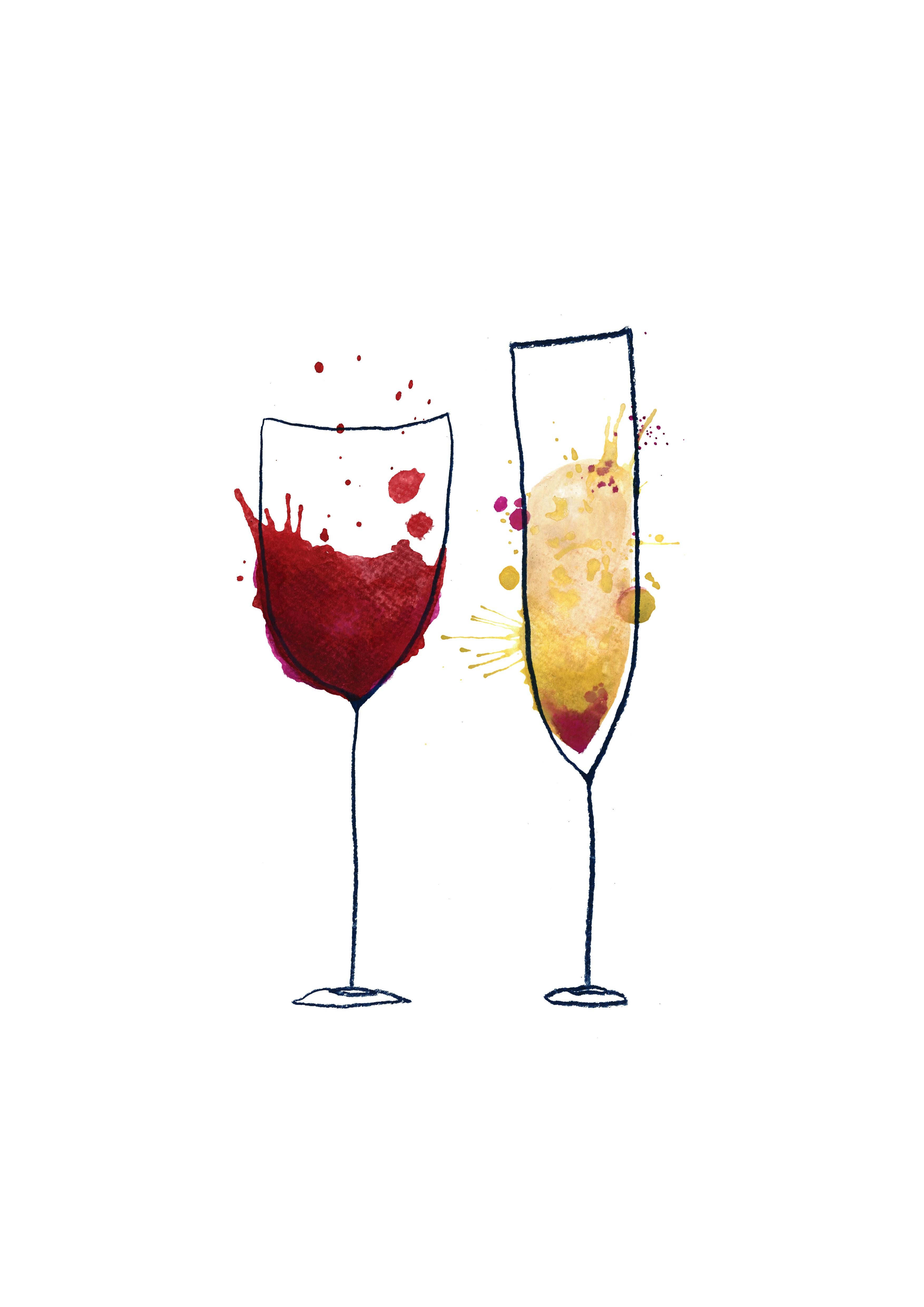 Fine Wine Watercolor Wine Art Wine Glass Drawing Wine Art