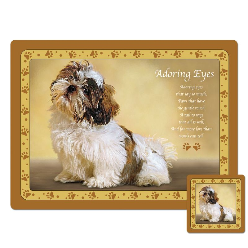 Dog Training Placemat: Shih Tzu Placemat And Coaster Set