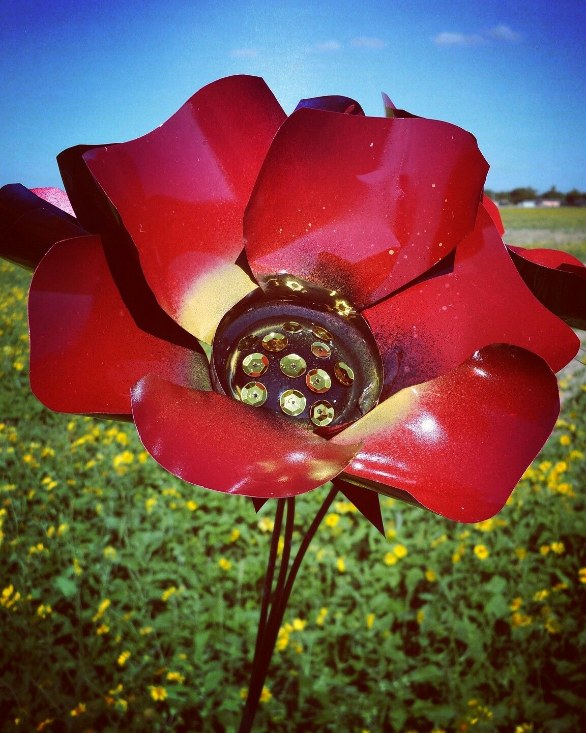 Metal Flowers By Gardendreamsdecor Red Poppy Garden Stakes