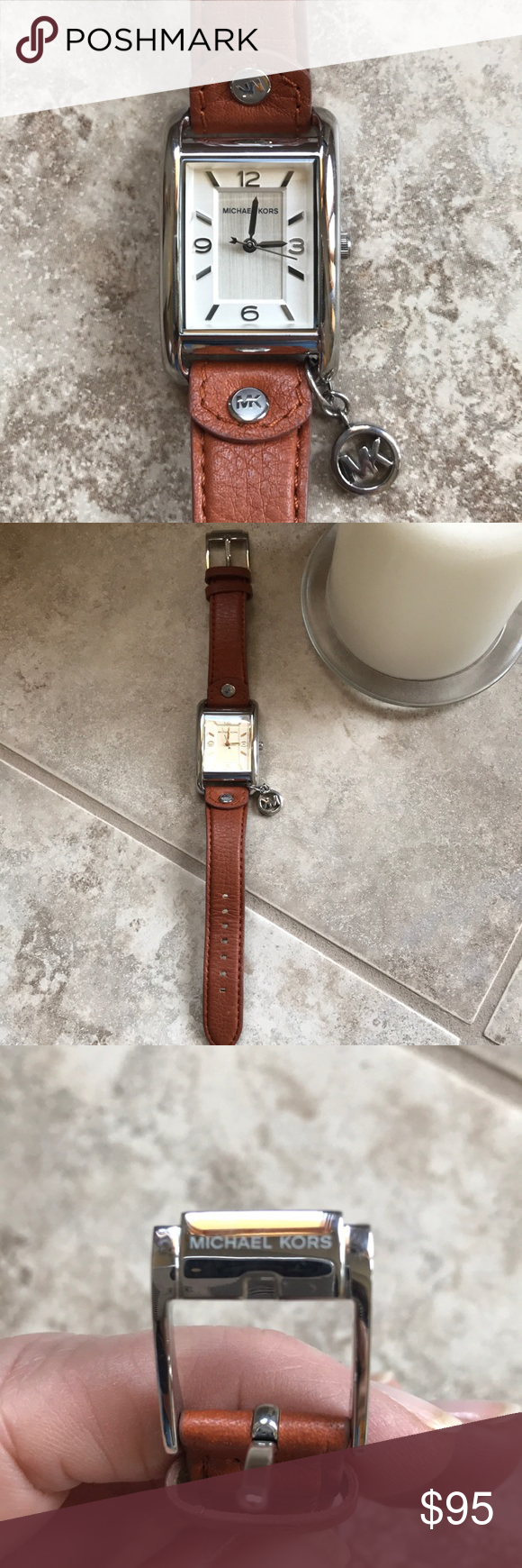 1ef9ea3ce Authentic Michael Kors Watch 🌺🌺 Michael Kors watch with brown leather band.  MK-2165. Hanging MK charm. Silver findings. Like new!!