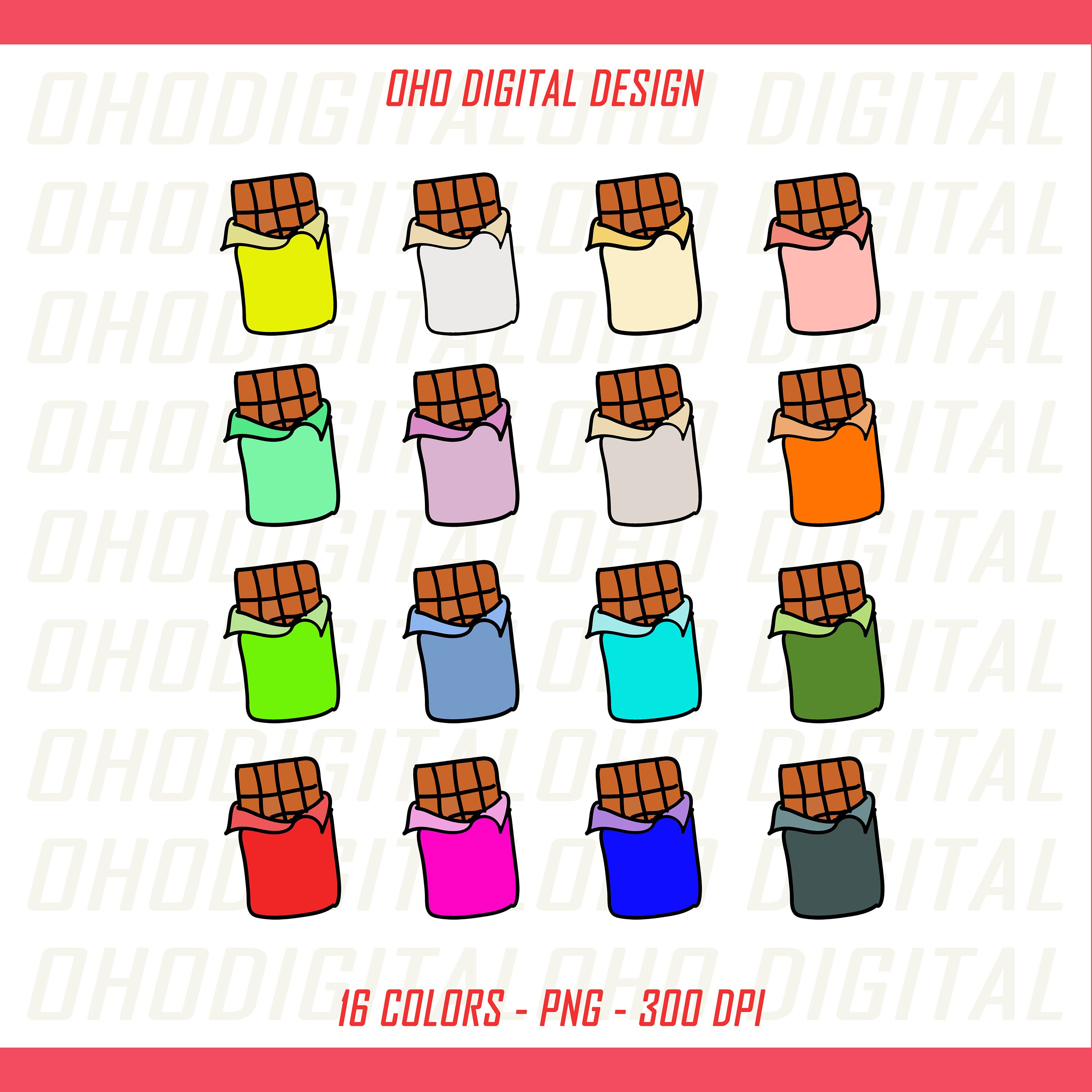 Colors Chocolate Bar Clip art, illustrations PNG, Planner Stickers Commercial Use by OHODIGITAL on Etsy