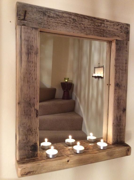 Holz Holz Spiegel Mit Regal Handgefertigt Altholz Kiefer