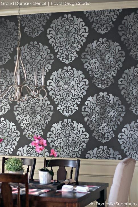 Grand Damask Wall Stencil White Dining RoomsDining Room WallsLiving