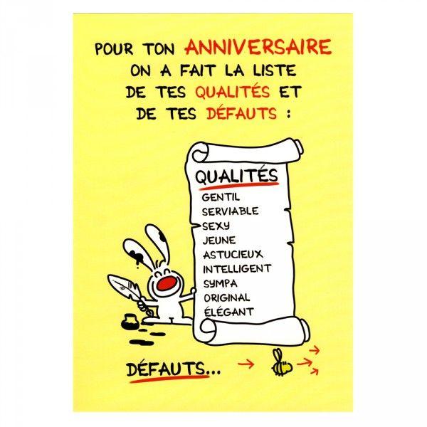 Maxi Carte D Anniversaire Qualites Et Defauts Show Lapin Achat Carte D Anniversaire Show Lapin Cadeau Maestro Carte Anniversaire Carte Anniversaire Humour Anniversaire