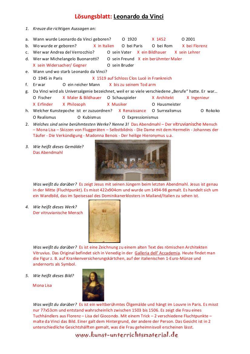 Arbeitsblatt - Lösung Leonardo da Vinci kunstunterricht.de ...