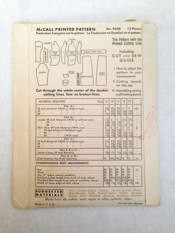 1930s 30s Mccall 9628 Sewing Pattern Womens Two Piece Suit Jacket