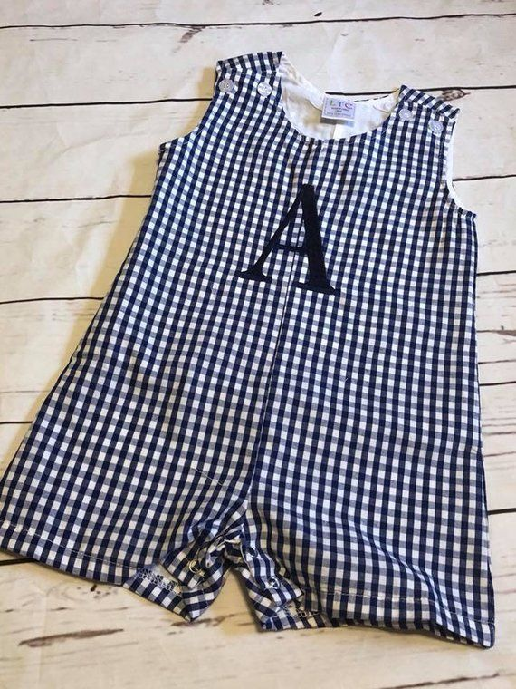 Boys BLUE and NAVY SEERSUCKER Jon Jon Shortall Baby Romper  3 6 9 12 M Months