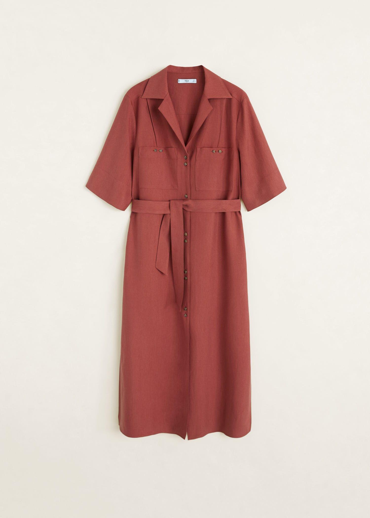 Vestido camiseiro de tecido suave Mulher | Camisa formal
